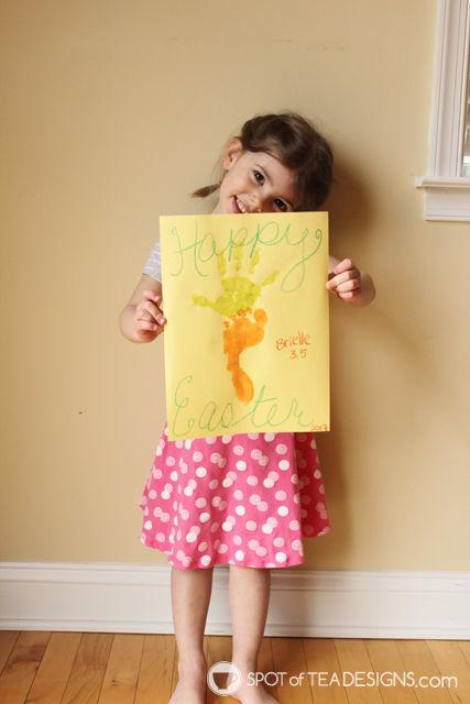 Carrot Footprint & Handprint Easter Kids Craft | spotofteadesigns.com