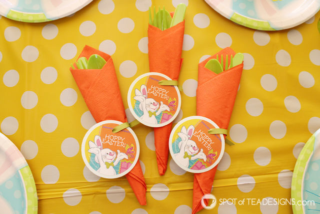 orange napkins and green cutlery make a super cute carrot look for the kids table for Easter   spotofteadesigns.com