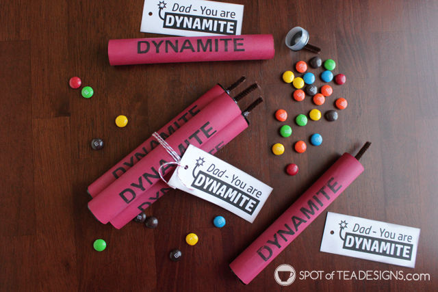 Turn a candy tube into a faux stick of dynamite filled with candy for Father's Day. Download the printable to make this dynamite candy tube! | spotofteadesigns.com