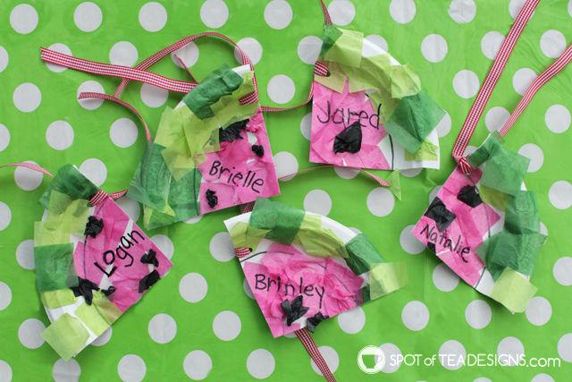 Watermelon paper plate gift tags kids craft | spotofteadesigns.com