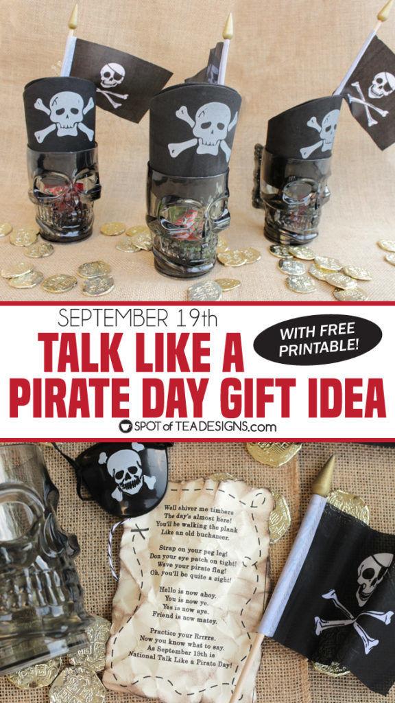 Talk like a pirate day gift idea - free printable tag   spotofteadesigns.com