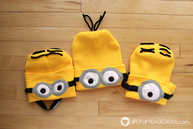 Despicable Me Minions Halloween Costume tutorial with free printable template | spotofteadesigns.com