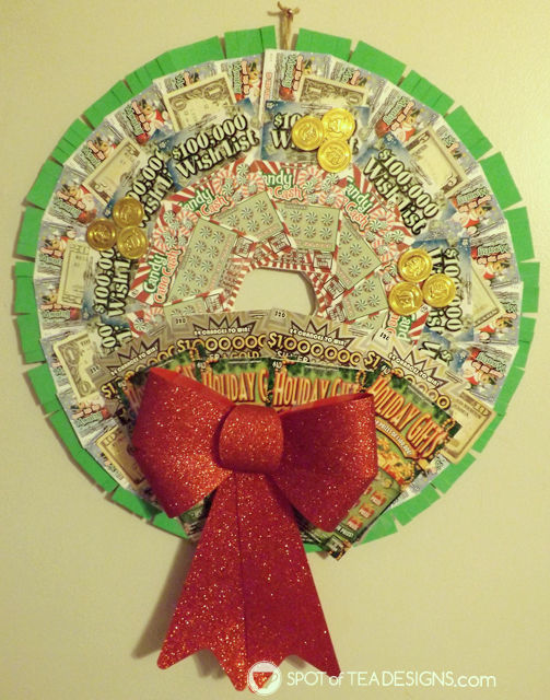 Reader's Feature - Lottery Ticket wreath made with PA lottery tickets. Tutorial found at spotofteadesigns.com