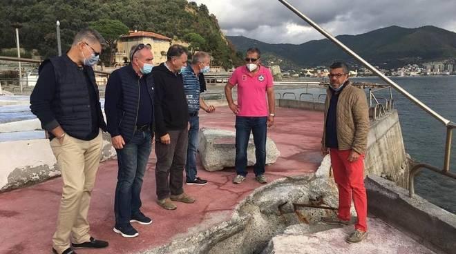 Maltempo, Noli: sopralluogo negli stabilimenti balneari del consigliere regionale Brunetto