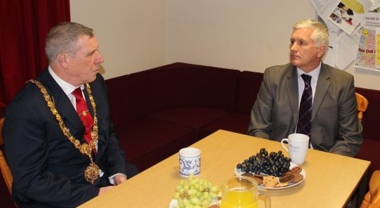 Tea and biscuits with the Mayor as he finds out more about the service from Cambs GP Network Executive Director, Tony Males