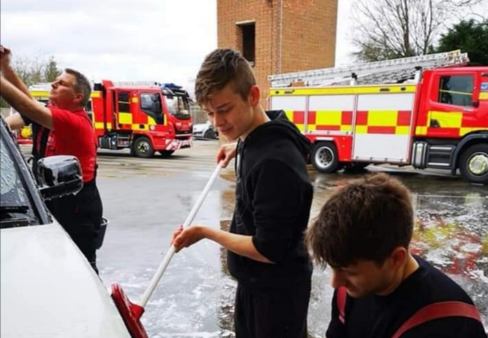Ely Cadet supporting Charity car wash at Ely Fire Station this weekend