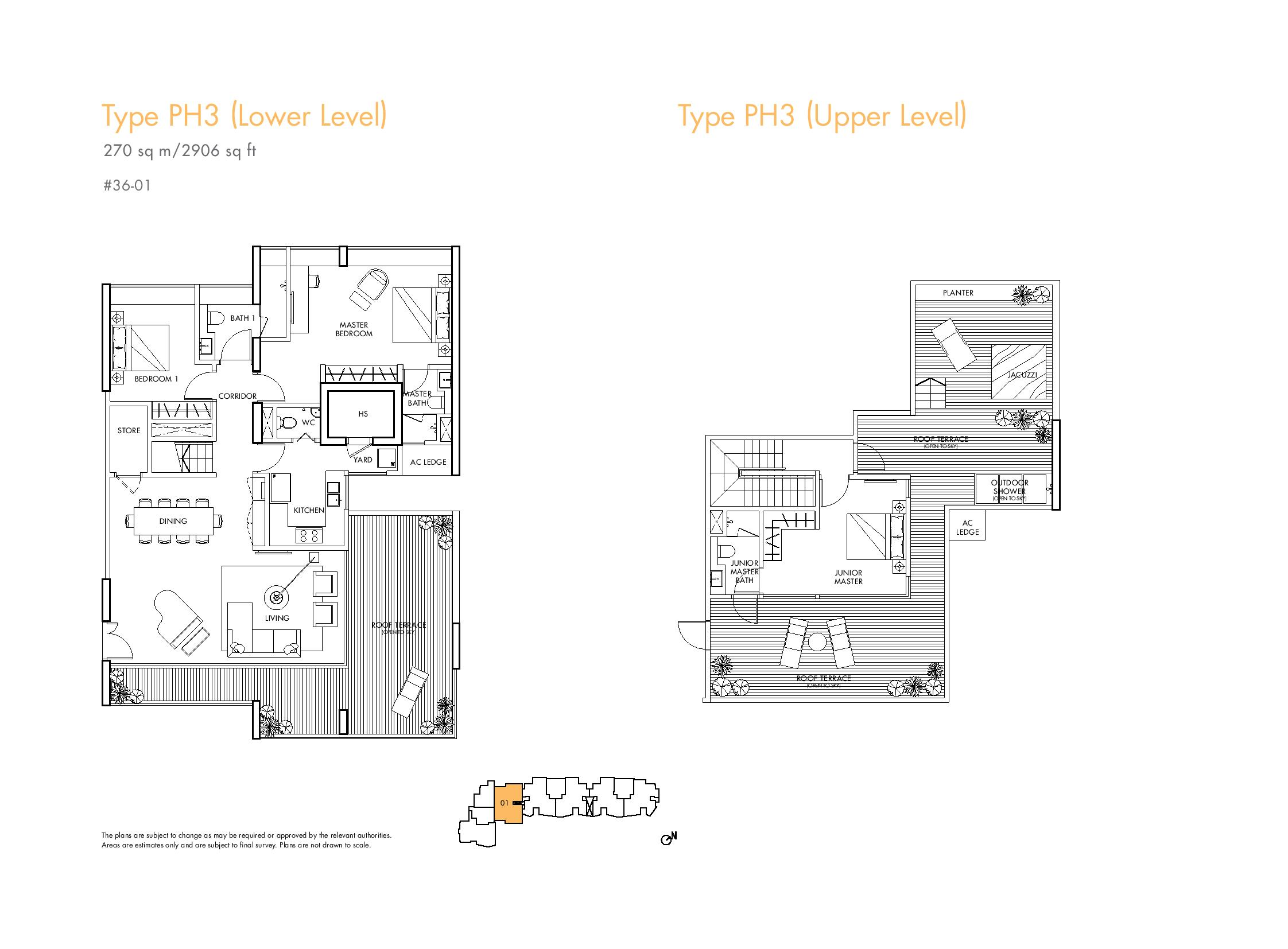 Spottiswoode Residences 3 Bedroom Penthouse Type PH3 Floor Plans