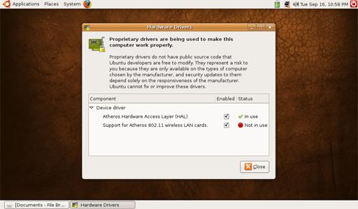 OneLinux beta 1 wireless hardware issue