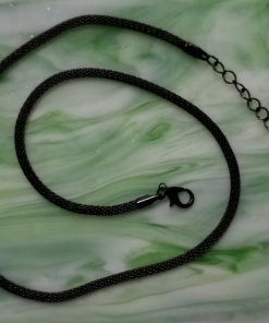 Metal Mesh Chain Necklace, Round, Black