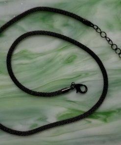 Metal Mesh Chain Necklace, Round, Black