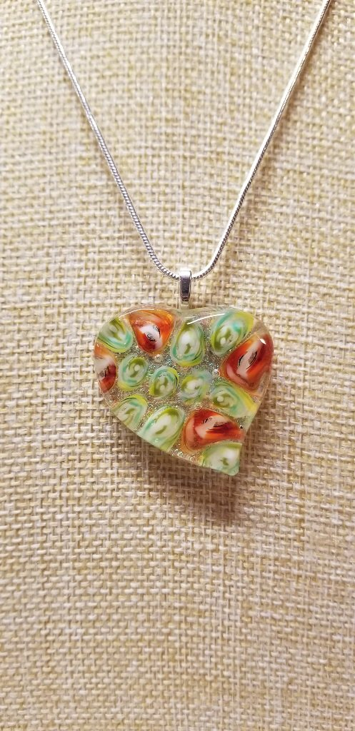 Millefiori and Dichroic Heart Pendant