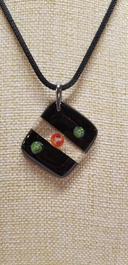 Millefiori, black and clear pendant