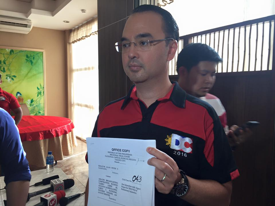 Alan Peter Cayetano secures TRO against ABS-CBN's anti-Duterte ads