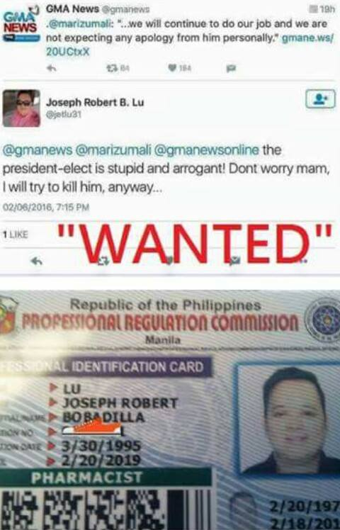 WANTED – Joseph Robert B. Lu, presidential assassin wannabe