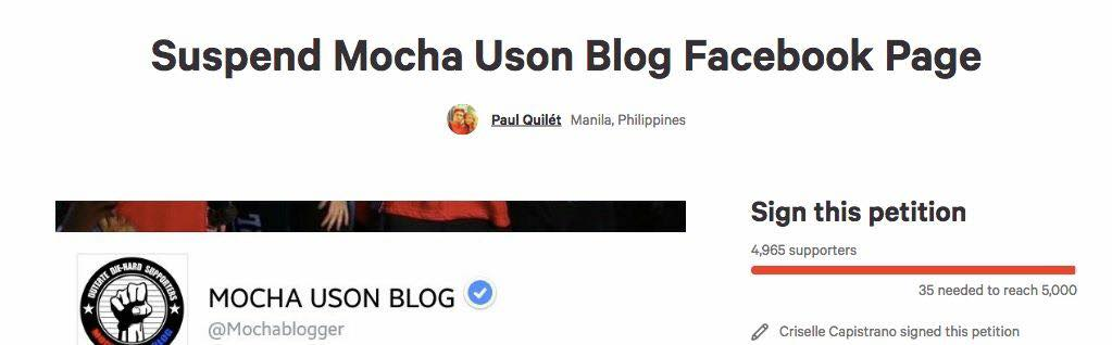 WHINE MORE – MOCHA USON BLOG demanded by suspected yellow army to be shut down due to overwhelming influence