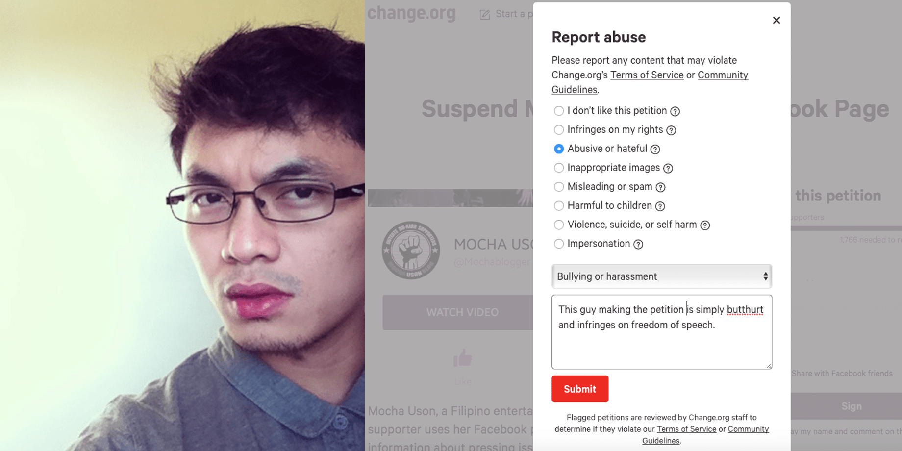 How to destroy the anti-MOCHA USON BLOG petition at Change.org by Paul Quilet? We have the answers.