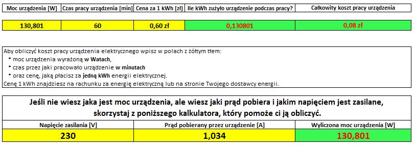 Aeris 350 pobór prądu