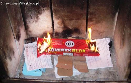 Podpalony kominek blok