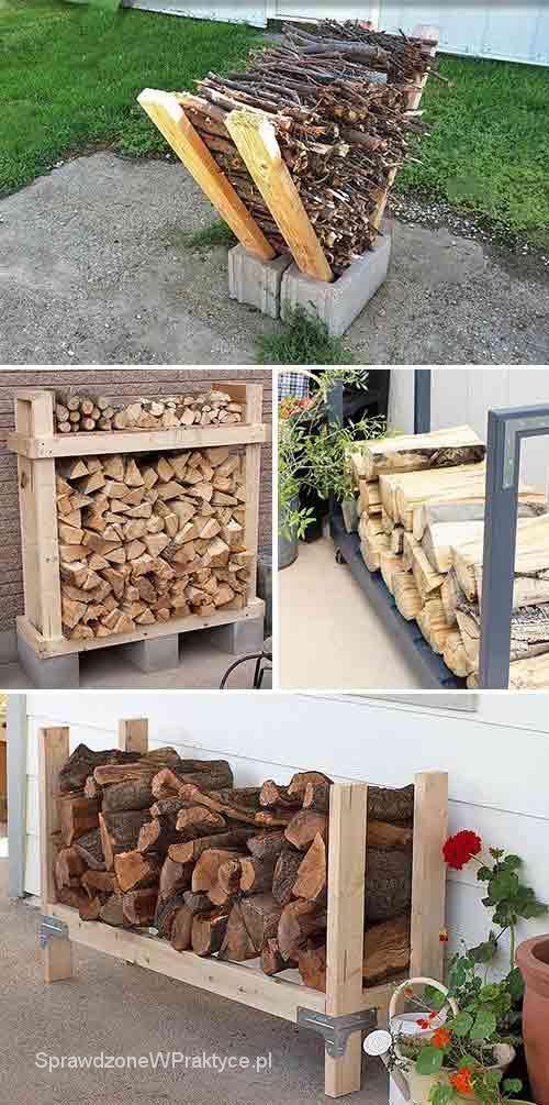 drewniany stojak na drewno kominkowe
