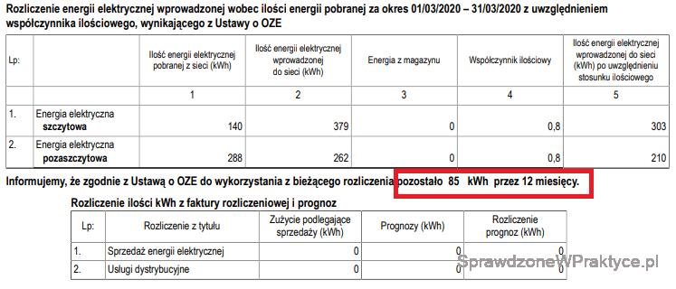 Faktura energia elektryczna marzec 2020