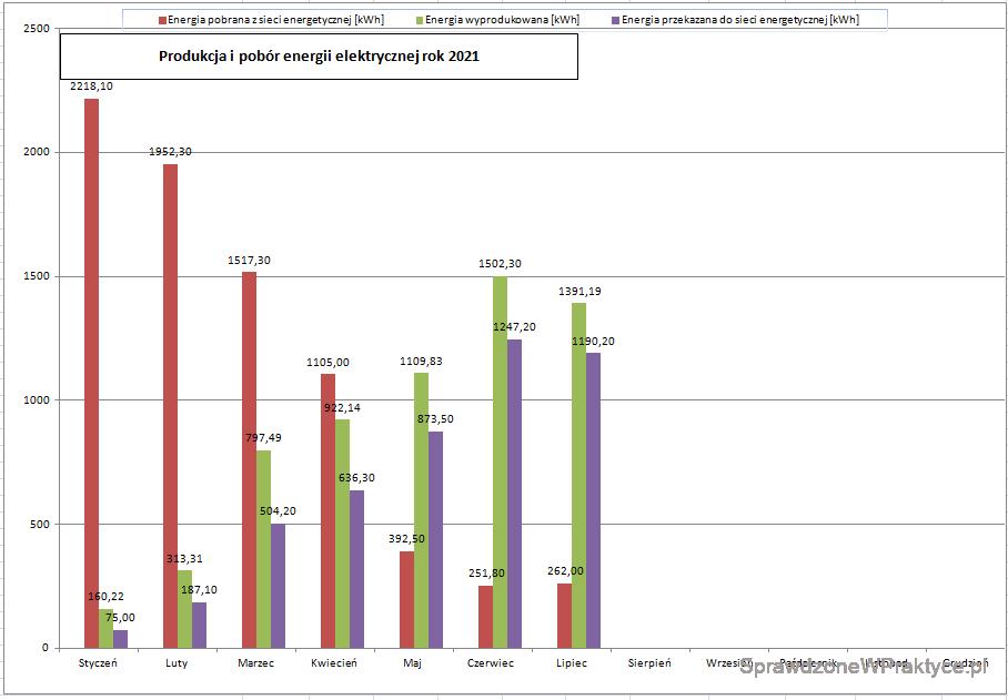 Wykres energii elektrycznej wyprodukowanej i zużytej - rok 2021