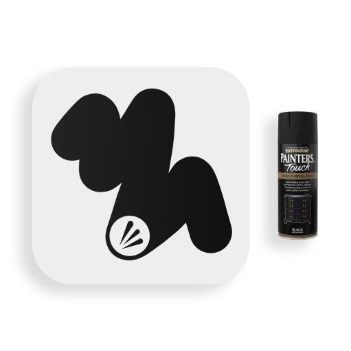 Rust-Oleum-Black-Satin-Spray-Paint-400ml-Painters-Touch-Swatch