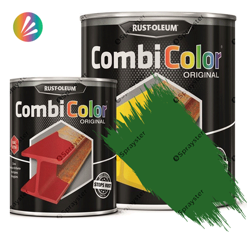 Direct-To-Metal-Paint-Rust-Oleum-CombiColor-Original-Satin-750ml-Sprayster-Emerald-Green