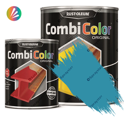 Direct-To-Metal-Paint-Rust-Oleum-CombiColor-Original-Satin-750ml-Sprayster-Light-Blue-Hammertone