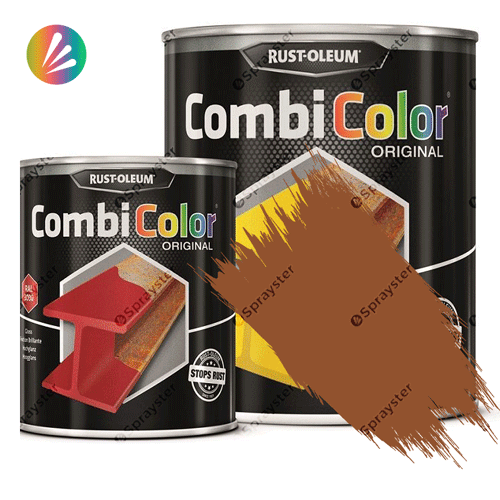 Direct-To-Metal-Paint-Rust-Oleum-CombiColor-Original-Satin-750ml-Sprayster-Ochre-Brown