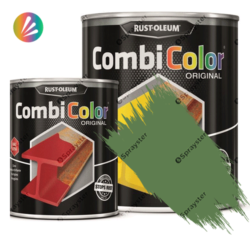 Direct-To-Metal-Paint-Rust-Oleum-CombiColor-Original-Satin-750ml-Sprayster-Reseda-Green