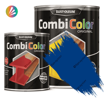 Direct-To-Metal-Paint-Rust-Oleum-CombiColor-Original-Satin-750ml-Sprayster-Traffic-Blue