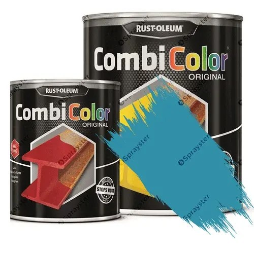 Direct-To-Metal-Paint-Rust-Oleum-CombiColor-Original-Satin-Sprayster-Light-Blue-Hammertone