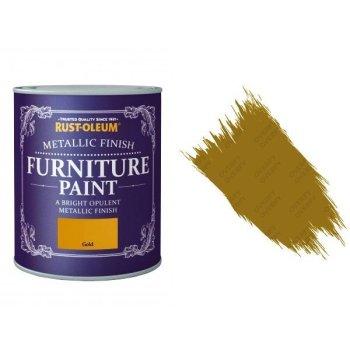 Rust-Oleum Gold Furniture Paint 750ml Shabby Chic Metallic