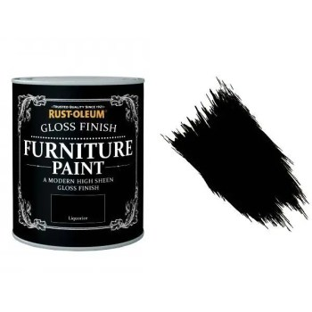 Rust-Oleum Liquorice Furniture Paint 125ml Shabby Chic Toy Safe Gloss
