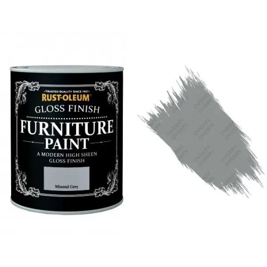 Rust-Oleum Mineral Grey Furniture Paint 750ml Shabby Chic Toy Safe Gloss
