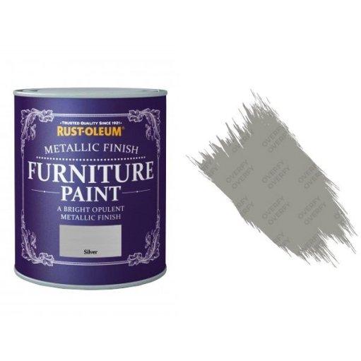 Rust-Oleum Silver Furniture Paint 750ml Shabby Chic Metallic