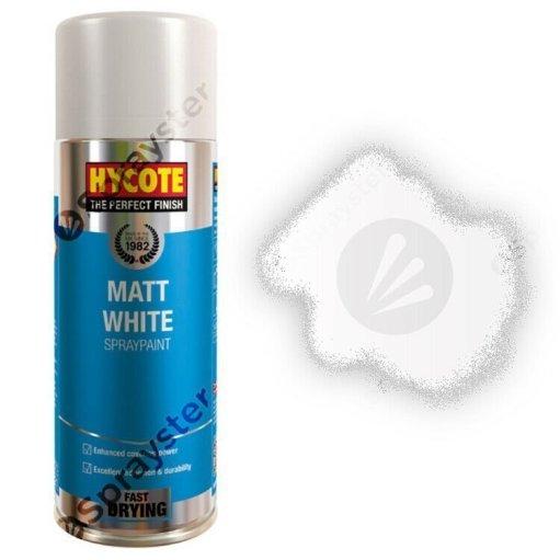 Hycote-White-Matt-Spray-Paint-Aerosol-Auto-Car-Multi-Purpose-400ml-XUK1000-333189362141