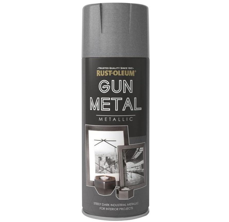 rust oleum metallic gun metal grey spray paint 400ml sprayster. Black Bedroom Furniture Sets. Home Design Ideas