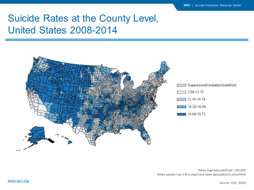 Suicide Rates at the County Level, United States 2008-2014