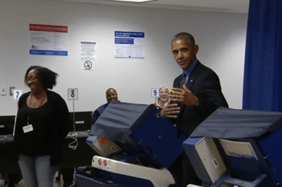 Barack Obama casts vote Hillary Clinton