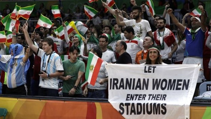 Iranian women Olympic protest sign