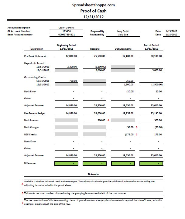 Bank Reconciliation Template | Free Excel Bank Reconciliation Template Download