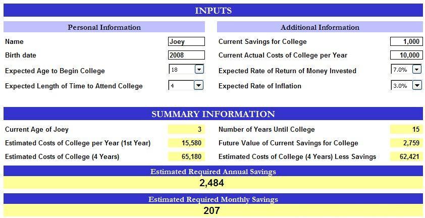 free excel college savings calculator template
