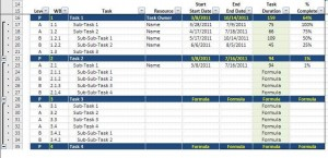 Gantt Chart Data Entry