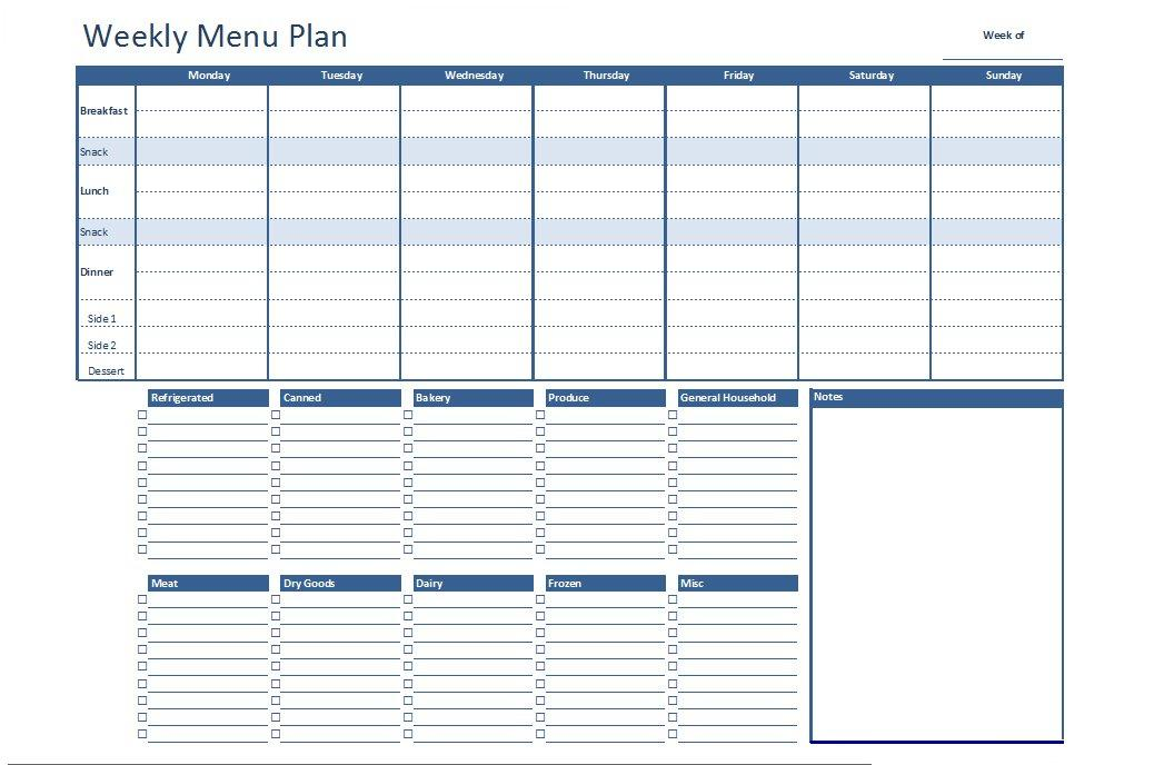 Excel Menu Template free weekly menu template for excel 2007 2016 – Menu Planner Templates