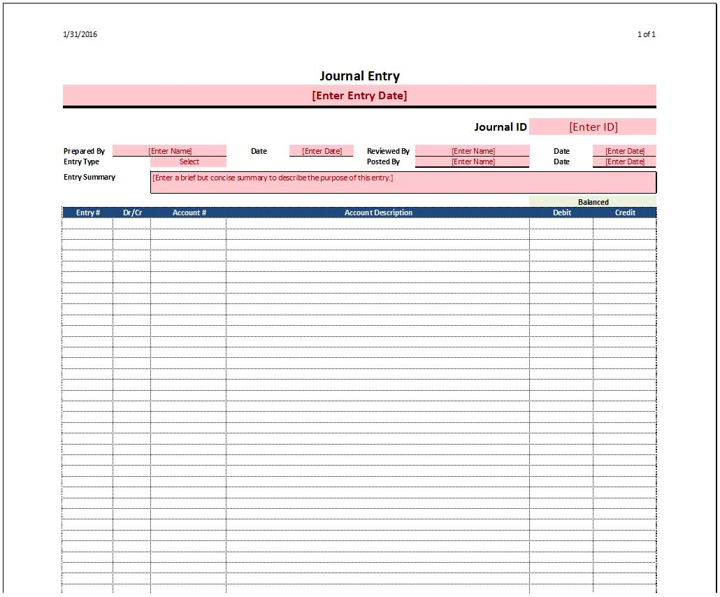 Journal Entry Template - Spreadsheetshoppe