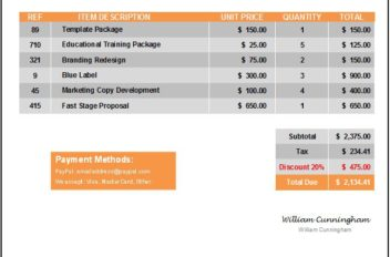 Invoice Template Everest Orange