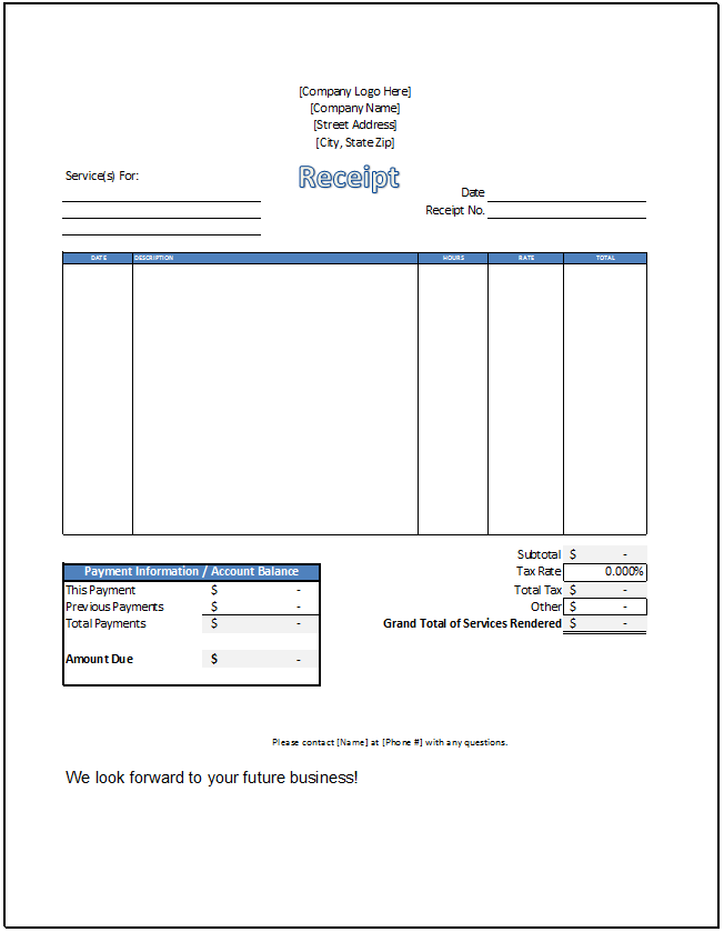 Service Receipt Template Spreadsheetshoppe – Receipt for Services Template