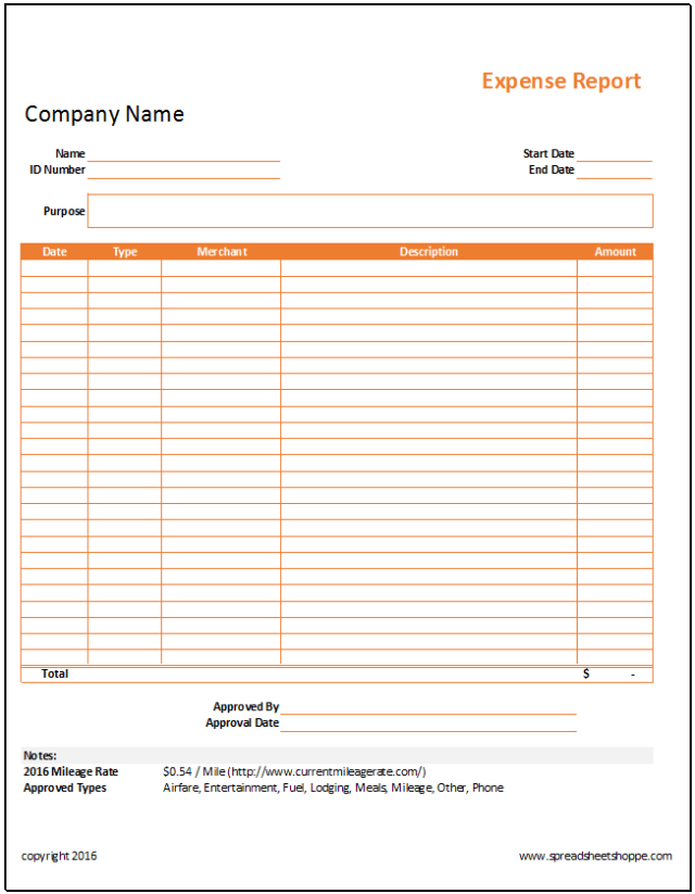 Simple Expense Report Template Https Www Spreadsheetshoppe Com