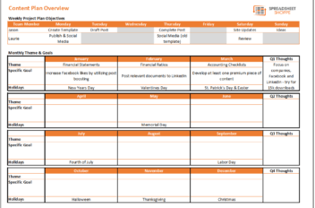 Content Calendar and Plan Template